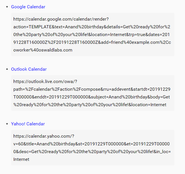 Generate Event Calendar Links For Google, Yahoo And Outlook – calendar-link