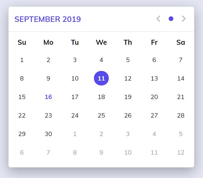 Clean ES6 Calendar Componnet – Rolyart Calendar