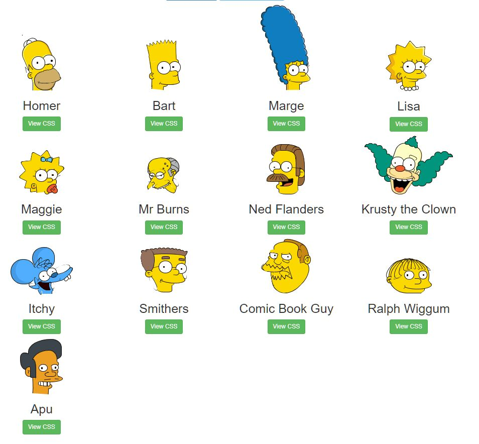 Simpsons Characters In Pure CSS
