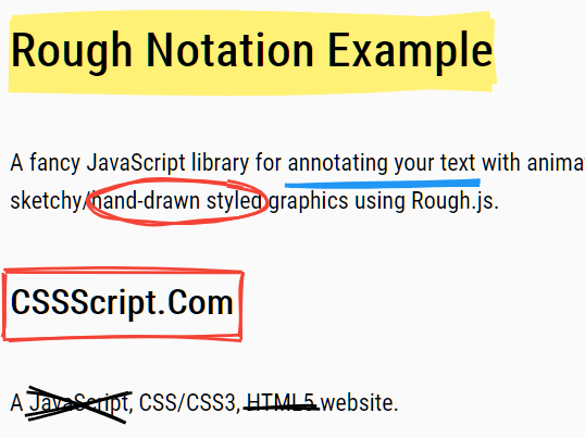 Animated Handdrawn Text Annotation Library – Rough Notation