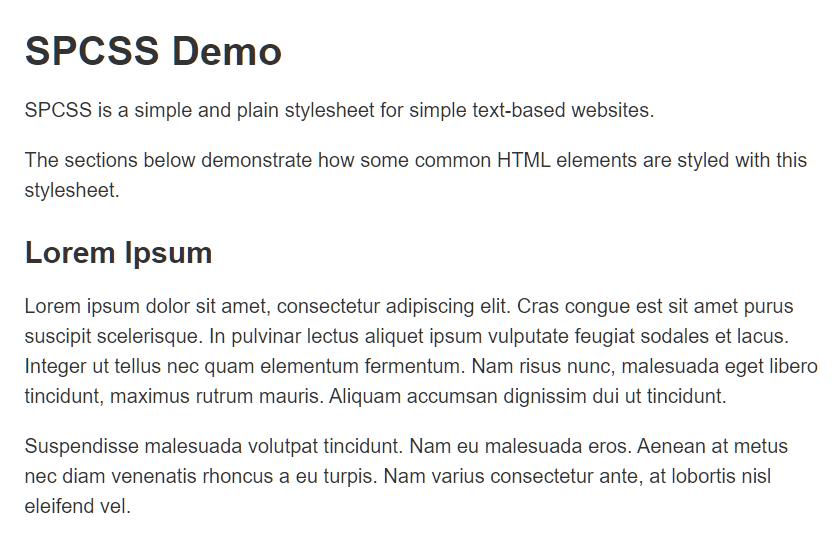 Minimal CSS Framework For Text-based Websites – sp.css