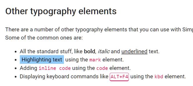 Simple.css Typography