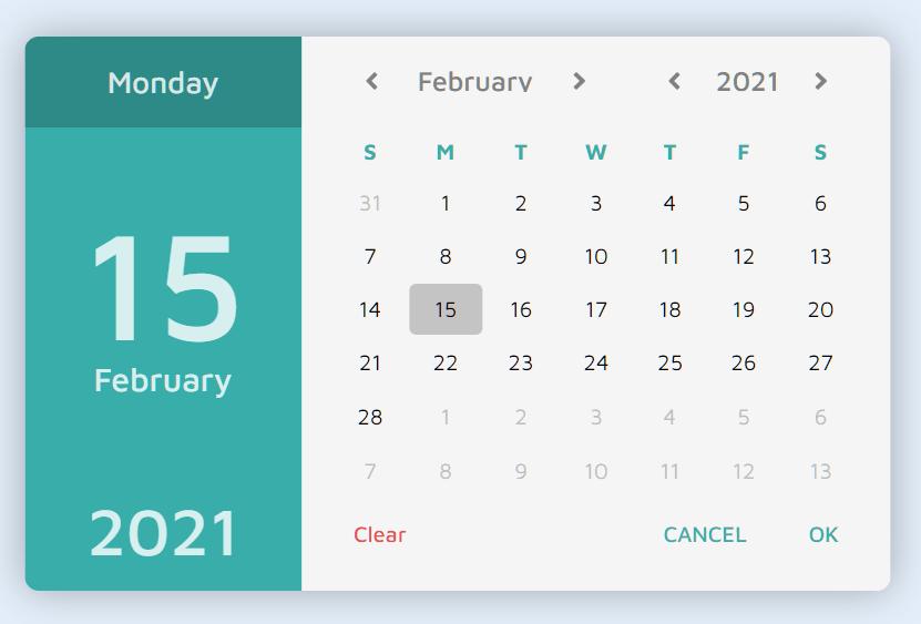 Beautiful Date Picker Component – MCDatepicker