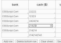Easy Spreadsheet-like Data Table In JavaScript - spreadsheet.js
