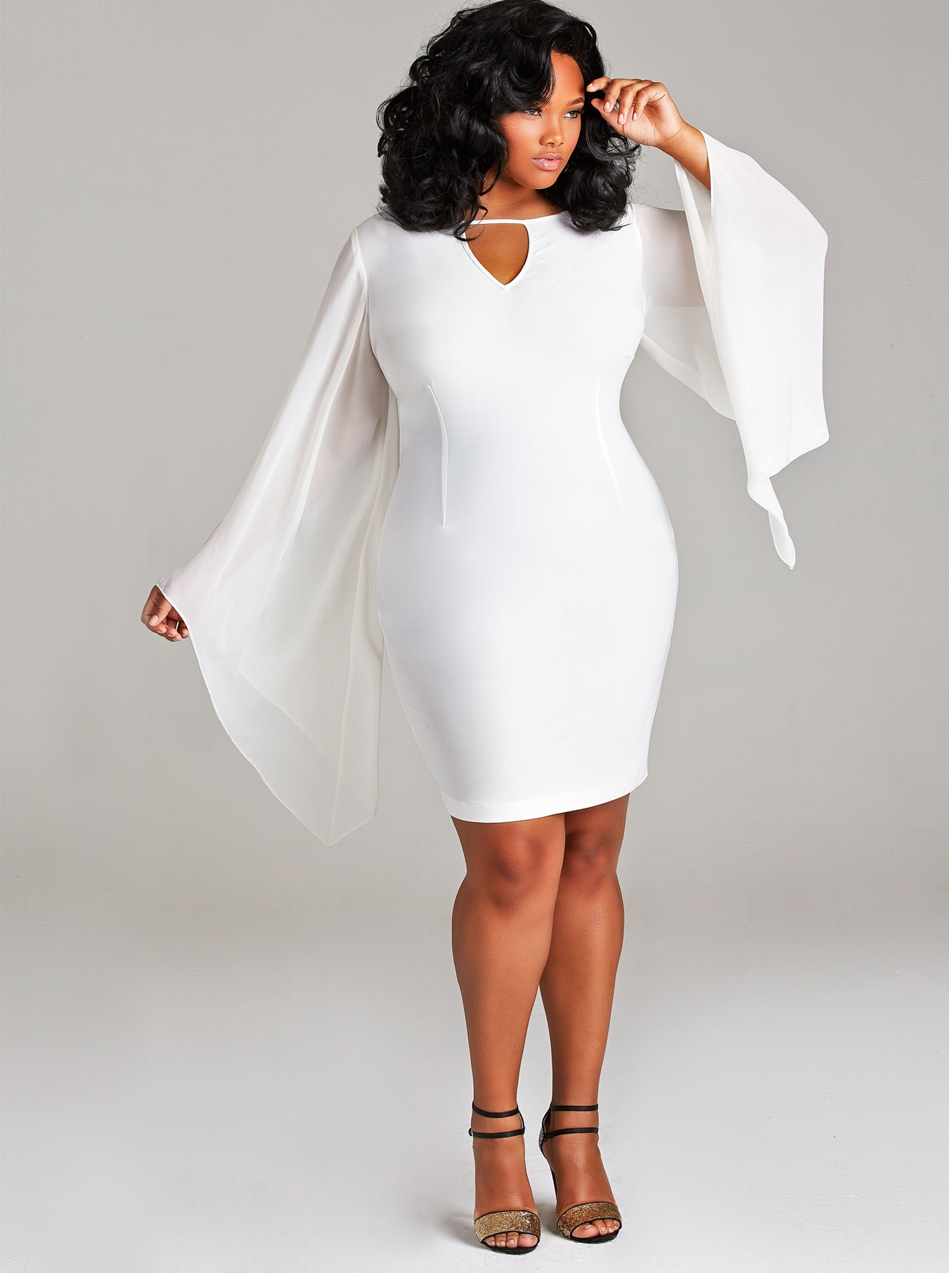 White dresses plus size long