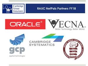 Logos of four companies Vecna, Oracle, GCP, Cambridge Systematics, and the logo of the Rindge Avenue Upper School.