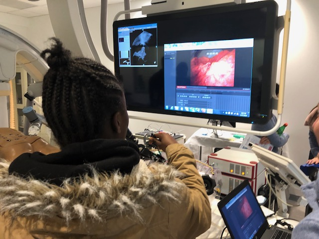 seen from behind, a person with braids looks at a monitor that depicts an image of a patient