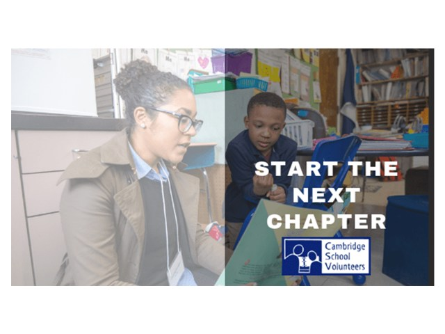 "image shows a woman reading to a boy, with the text ""Start the Next Chapter"""