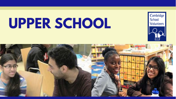 Text says Upper School and photos show diverse middle school students and volunteers.