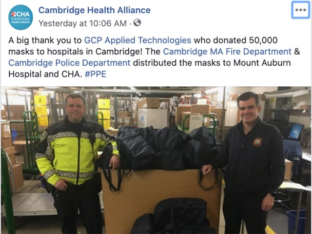 corporate partner donates PPEs