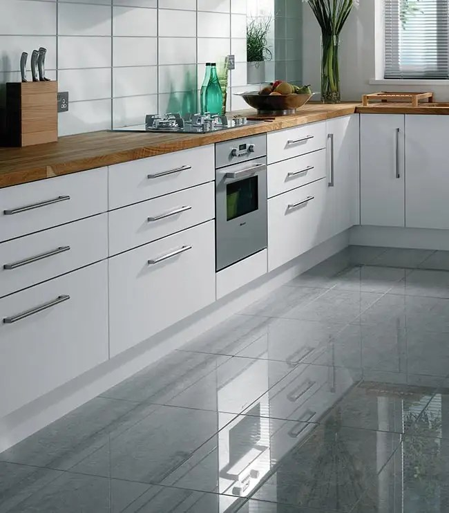 gray tile kitchen floor oval tables options a guide to tiling your high gloss grey tiles