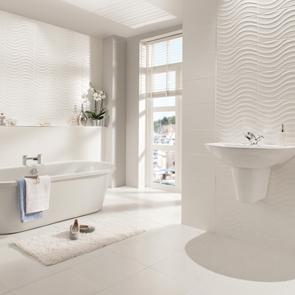 streamline wave white matt tile 400x250mm