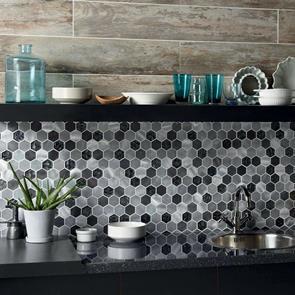 colby black mix glass metal hexagon mosaic 50x50mm