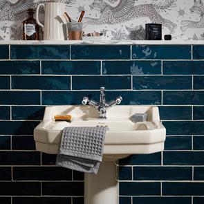 blue bathroom tiles blue wall floor