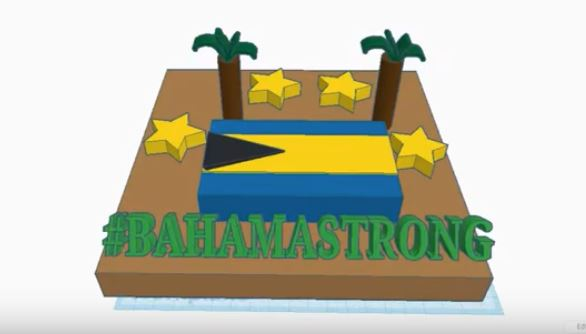 artwork with Bahamas flag, text Bahamastrong