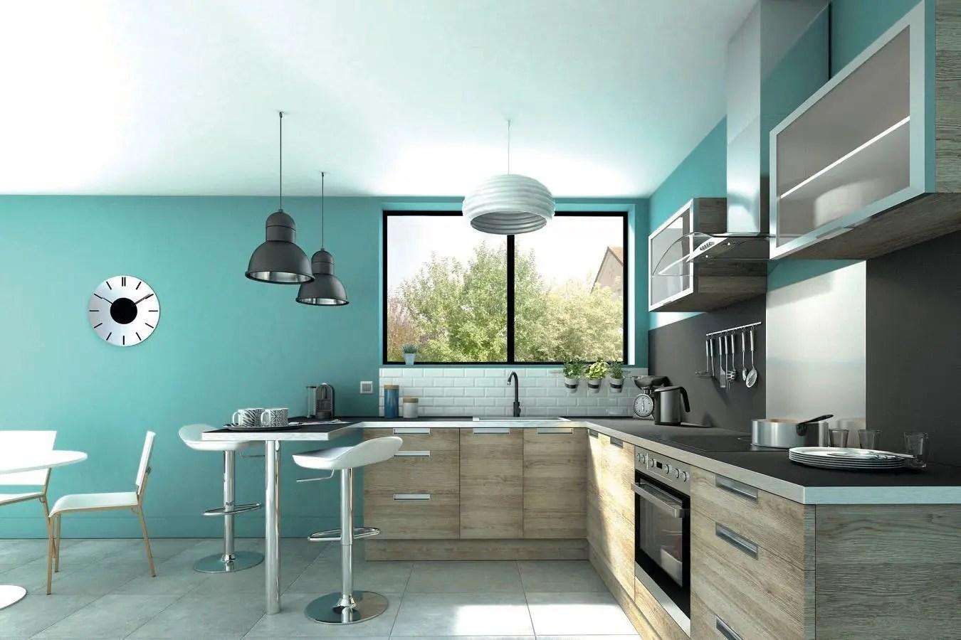 peinture pour une cuisine en bois clair