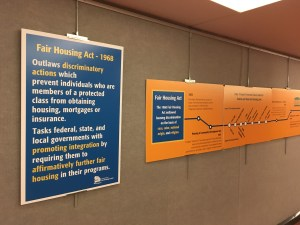 Posters about Fair Housing on the wall at the Legislative Office Building