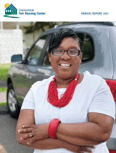 Cover of the 2017 Annual Report. It shows an African-American woman, smiling, wearing bright red necklace, standing in front of a car.