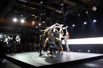 PARIS, FRANCE - JUNE 07: Dancers Perform during A-Z Clothing Line event launch on June 7, 2016 in Paris, France. (Photo by Marc Piasecki/Getty Images for A-Z)