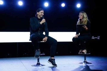 PARIS, FRANCE - JUNE 07: Zlatan Ibrahimovic and Emma Piesse speak on stage during the A-Z clothing line launch on June 7, 2016 in Paris, France. (Photo by Julien M. Hekimian/Getty Images) *** Local Caption *** Emma Piesse; Zlatan Ibrahimovic