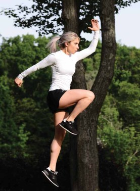 Lori-Ann Marchese shows the form for jumping high knees