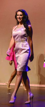 Alyssa Taglia in her interview outfit as she walks the stage at Miss Connecticut back in June.