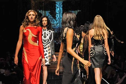 NEW YORK, NY - SEPTEMBER 12: Models walk the runway wearing Ibrahim Vukel at Art Hearts Fashion NYFW The Shows presented by AIDS Healthcare Foundation at The Angel Orensanz Foundation on September 12, 2016 in New York City. (Photo by Arun Nevader/Getty Images for Art Hearts Fashion )