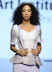 LOS ANGELES, CA - OCTOBER 12: A model walks the runway wearing Valeria David at Art Hearts Fashion Los Angeles Fashion The Art Institutes Showcase on October 12, 2016 in Los Angeles, California. (Photo by Arun Nevader/Getty Images for Art Hearts Fashion)