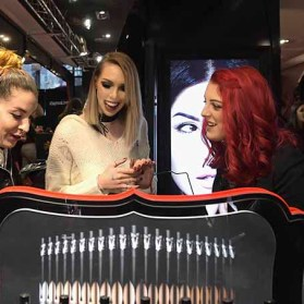 PARIS, FRANCE - JANUARY 23: (L-R) Member of the Kat Von D Beauty artistry team Steffanie Strazzere, Beauty influencers Sandrea26France Lodoesmakeup attend the Kat Von D Beauty opening weekend with influencers at Sephora Champs-Elysees on January 23, 2017 in Paris, France. (Photo by Dominique Charriau/Getty Images for Sephora) *** Local Caption *** Steffanie Strazzere; Sandrea26France; Lodoesmakeup