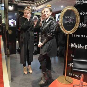 PARIS, FRANCE - JANUARY 23: (L-R) Beauty influencer Clarachannel and Kat Von D beauty artist Steffanie Strazzere attend the Kat Von D Beauty opening weekend with influencers at Sephora Champs-Elysees on January 23, 2017 in Paris, France. (Photo by Dominique Charriau/Getty Images for Sephora) *** Local Caption *** Clara Channel; Steffanie Strazzere