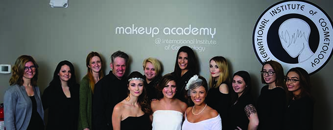 The team from the International Institute of Cosmetology in Plainville, Conn. with models Juliette Johnson, Alyssa Anderson, and Sami Anderson.