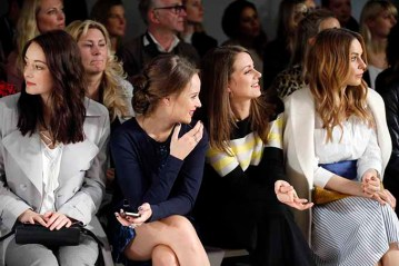 BERLIN, GERMANY - JANUARY 18: (L-R) Maria Ehrich, Sonja Gerhardt, Alice Dwyer and Mina Tander attend the Laurel show during the Mercedes-Benz Fashion Week Berlin A/W 2017 at Kaufhaus Jandorf on January 18, 2017 in Berlin, Germany. (Photo by Franziska Krug/Getty Images for Laurel) *** Local Caption *** Maria Ehrich;Sonja Gerhardt;Alice Dwyer;Mina Tander