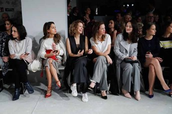 BERLIN, GERMANY - JANUARY 18: (L-R) Stephanie Stumph, Gizem Emre, Chiara Schoras, Alexandra Neldel, Maria Ehrich and Sonja Gerhardt attend the Laurel show during the Mercedes-Benz Fashion Week Berlin A/W 2017 at Kaufhaus Jandorf on January 18, 2017 in Berlin, Germany. (Photo by Franziska Krug/Getty Images for Laurel) *** Local Caption *** Stephanie Stumph;Gizem Emre;Chiara Schoras: Alexandra Neldel;Maria Ehrich;Sonja Gerhardt