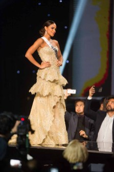 Andrea Tovar, Miss Colombia 2016 on stage as a Top 3 Finalist during the Final Look segment of The 65th MISS UNIVERSE® Telecast airing on FOX at 7:00 PM ET live/PT tape-delayed on Sunday, January 29 from the Mall of Asia Arena. The contestants have been touring, filming, rehearsing and preparing to compete for the Miss Universe crown in the Philippines. HO/The Miss Universe Organization
