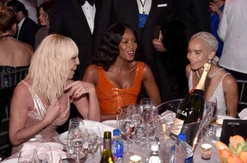 NEW YORK, NY - FEBRUARY 08: Donatella Versace, Naomi Campbell and Zoe Kravitz attend as Moet & Chandon Toasts to the amfAR New York Gala At Cipriani Wall Street at Cipriani Wall Street on February 8, 2017 in New York City. (Photo by Bryan Bedder/Getty Images for Moet & Chandon) *** Local Caption *** Donatella Versace, Naomi Campbell, Zoe Kravitz