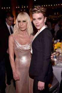 NEW YORK, NY - FEBRUARY 08: Designer Donatella Versace (L) and actress Scarlett Johansson attend as Moet & Chandon Toasts to the amfAR New York Gala At Cipriani Wall Street at Cipriani Wall Street on February 8, 2017 in New York City. (Photo by Bryan Bedder/Getty Images for Moet & Chandon) *** Local Caption *** Donatella Versace;Scarlett Johansson