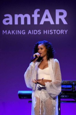 NEW YORK, NY - FEBRUARY 08: Musician AlunaGeorge performs onstage as Moet & Chandon Toasts to the amfAR New York Gala At Cipriani Wall Street at Cipriani Wall Street on February 8, 2017 in New York City. (Photo by Bryan Bedder/Getty Images for Moet & Chandon) *** Local Caption *** AlunaGeorge