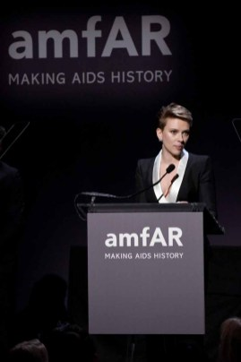 NEW YORK, NY - FEBRUARY 08: Actress Scarlett Johansson speaks onstage as Moet & Chandon Toasts to the amfAR New York Gala At Cipriani Wall Street at Cipriani Wall Street on February 8, 2017 in New York City. (Photo by Bryan Bedder/Getty Images for Moet & Chandon) *** Local Caption *** Scarlett Johansson