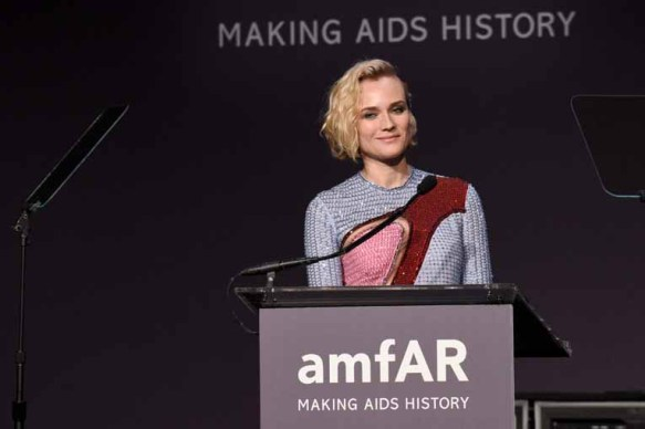 NEW YORK, NY - FEBRUARY 08: Actress Diane Kruger speaks onstage as Moet & Chandon Toasts to the amfAR New York Gala At Cipriani Wall Street at Cipriani Wall Street on February 8, 2017 in New York City. (Photo by Bryan Bedder/Getty Images for Moet & Chandon) *** Local Caption *** Diane Kruger