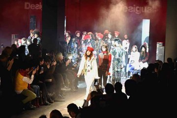 Models pose for the finale of the Desigual fashion show during New York Fashion Week at Gallery 1, Skylight at Clarkson Sq on February 9, 2017 in New York City.