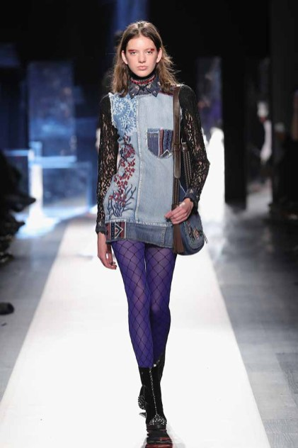 DESIGUAL_NYFW_AW17_ATWALK_LOOK 12..NEW YORK, NY - FEBRUARY 09:A model walks the runway at the Desigual show New York Fashion Week The Shows at Gallery 1, Skylight Clarkson Sq on February 9, 2017 in New York City.