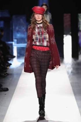 DESIGUAL_NYFW_AW17_ATWALK_LOOK 18..NEW YORK, NY - FEBRUARY 09:A model walks the runway at the Desigual show New York Fashion Week The Shows at Gallery 1, Skylight Clarkson Sq on February 9, 2017 in New York City.