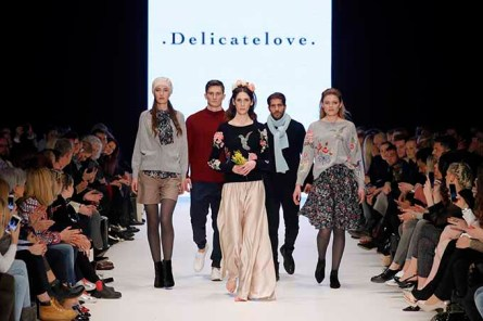 DUESSELDORF, GERMANY - JANUARY 28: Models walk the runway at the Delicatelove PF Selected show during Platform Fashion January 2017 at Areal Boehler on January 28, 2017 in Duesseldorf, Germany. (Photo by Andreas Rentz/Getty Images for Platform Fashion)