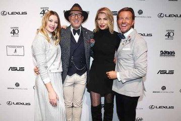 DUESSELDORF, GERMANY - JANUARY 29: Amelie Klever, Thomas Rath, Julia Siegel and Sandro Rath attend the Thomas Rath after party during Platform Fashion January 2017 at Areal Boehler on January 29, 2017 in Duesseldorf, Germany. (Photo by Mathis Wienand/Getty Images for Platform Fashion) *** Local Caption *** Amelie Klever;Thomas Rath;Sandro Rath;Julia Siegel