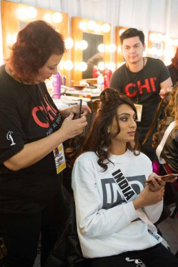 Roshmitha Harimurthy, Miss India 2016 gets hair done by a stylist from CHI Haircare backstage during The 65th MISS UNIVERSE® Telecast airing on FOX at 7:00 PM ET live/PT tape-delayed on Sunday, January 29 from the Mall of Asia Arena. The contestants have been touring, filming, rehearsing and preparing to compete for the Miss Universe crown in the Philippines. HO/The Miss Universe Organization