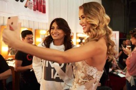 Roshmitha Harimurthy, Miss India 2016 and Miss 2015, Olivia Jordan backstage during The 65th MISS UNIVERSE® Telecast airing on FOX at 7:00 PM ET live/PT tape-delayed on Sunday, January 29 from the Mall of Asia Arena. The contestants have been touring, filming, rehearsing and preparing to compete for the Miss Universe crown in the Philippines. HO/The Miss Universe Organization