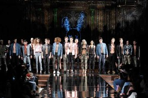 NEW YORK, NY - FEBRUARY 10: Models walk the runway with models during Mister Triple X at New York Fashion Week Art Hearts Fashion NYFW FW/17 at The Angel Orensanz Foundation on February 10, 2017 in New York City. (Photo by Arun Nevader/Getty Images for Art Hearts Fashion)