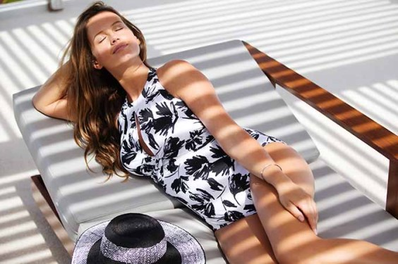 A black and white one-piece from Swimsuits for All.