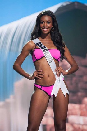 India Williams, Miss California USA 2017, competes on stage in Yandy Swim during the MISS USA® Preliminary Competition at Mandalay Bay Convention Center on May 11, 2017. The Miss USA contestants have been touring, filming, rehearsing and preparing to compete for the Miss USA crown in Las Vegas, Nevada. Tune in to the FOX telecast at 8:00 PM ET live/PT tape-delayed on Sunday, May 14, from Mandalay Bay Resort and Casino Las Vegas to see who will become Miss USA. HO/The Miss Universe Organization