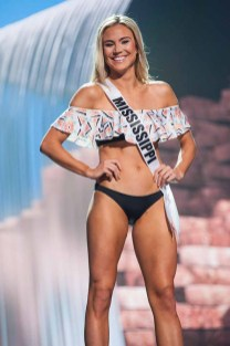 Ashley Hamby, Miss Mississippi USA 2017, competes on stage in Yandy Swim during the MISS USA® Preliminary Competition at Mandalay Bay Convention Center on May 11, 2017. The Miss USA contestants have been touring, filming, rehearsing and preparing to compete for the Miss USA crown in Las Vegas, Nevada. Tune in to the FOX telecast at 8:00 PM ET live/PT tape-delayed on Sunday, May 14, from Mandalay Bay Resort and Casino Las Vegas to see who will become Miss USA. HO/The Miss Universe Organization